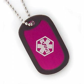 Fashion Alert Aluminium Medical ID Hot Pink 5.3cm Dog Tag Necklace on 18