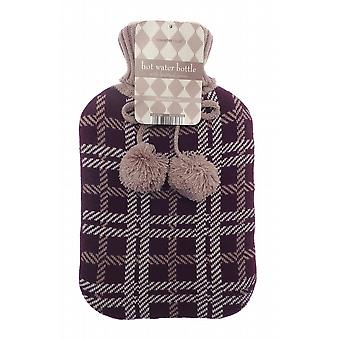 Jacquard Knit Pom Pom 2L Hot Water Bottle: Plum Check