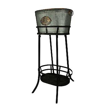 Antiqued Ribbed Metal Flowers and Garden Decorative Ice Tub On Stand