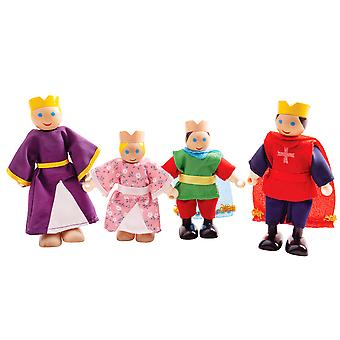 Bigjigs Toys Wooden Royal Family Dolls - Wood Doll House Figures, Playset