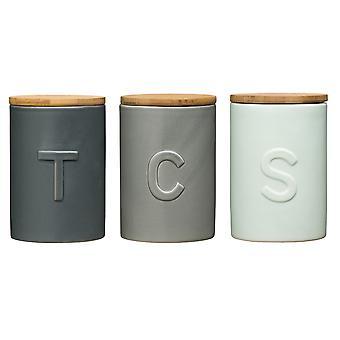 Premier Housewares Fenwick Tea Coffee Sugar Canisters, Blue and Grey