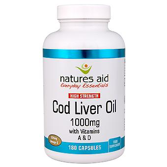 Natures Aid Cod Liver Oil (High Strength) 1000mg (With Vitamin A, D, E), 180 Capsules