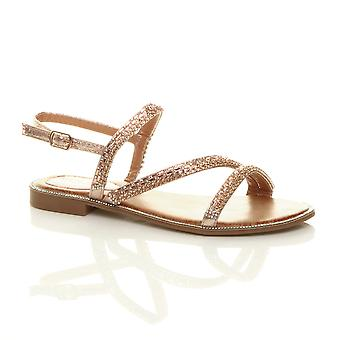 Ajvani Womens flat diamante summer beach T-bar boho strappy sandals