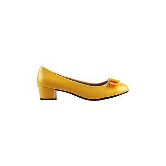 KRISP kvinner lav blokk hæl Bow patent domstoler damer arbeid fest ballerina pumper sko