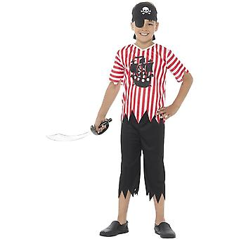 Jolly Pirate Boy Costume, Red & White, with Top, Trousers, Bandana & Eyepatch