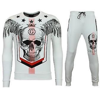 Men's Tracksuits-Joggingpak Online-Star Skull-White