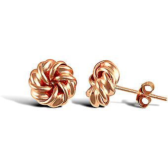 Jewelco London Ladies 9ct Rose Gold Love Knot Stud Earrings