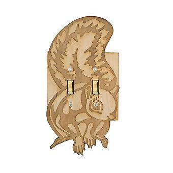 Squirrel double switch plate - raw wood - 5.2