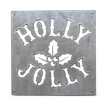 Holly jolly - metal cut sign 15x15in