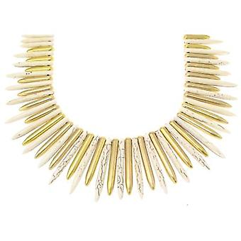 Kenneth Jay Lane Satin Gold Plated Bone Spike Necklace