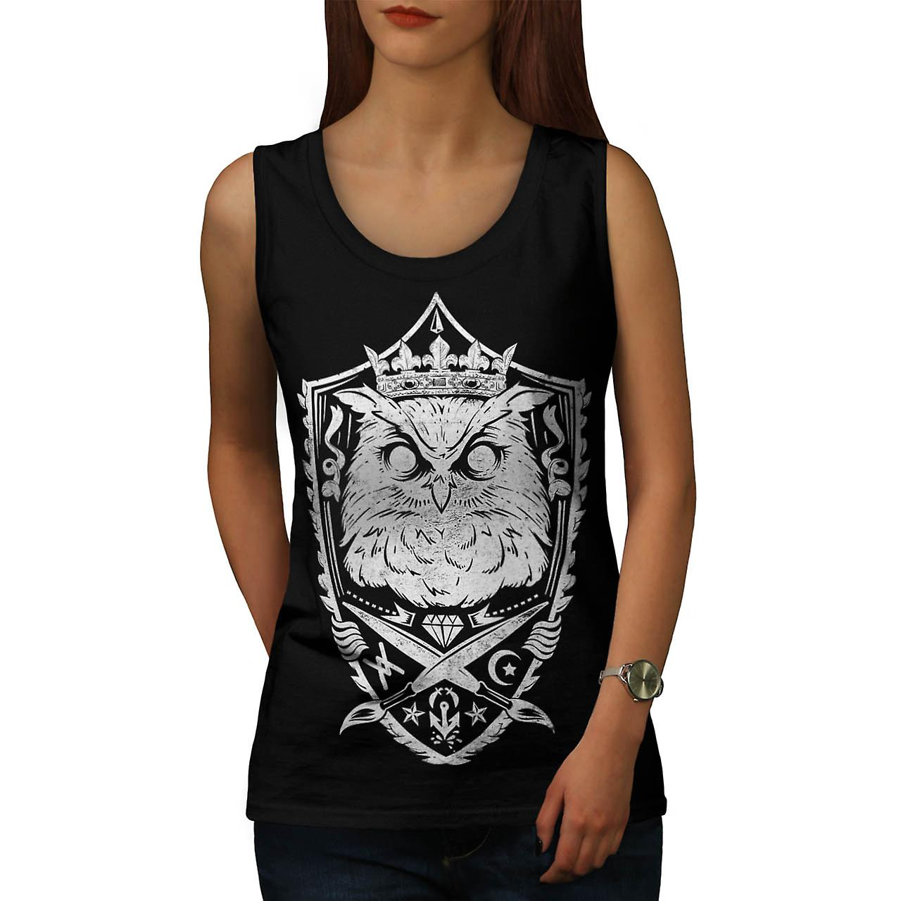 Danger Owl Kingdom Giant Bird Women Black Tank Top | Wellcoda