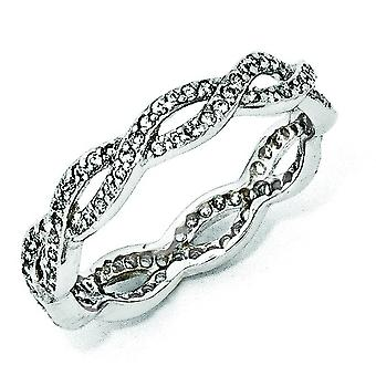 Sterling Silver CZ Twist Ring - Ring Size: 6 to 8