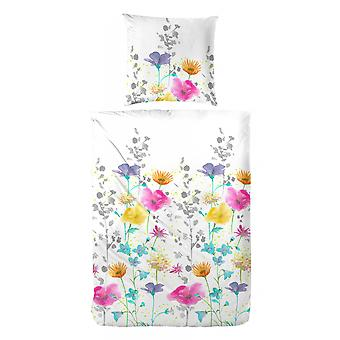 COCK Maco Satin Bed linen 135 x 200 cm with colorful flowers