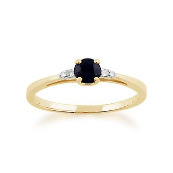 Gemondo 9ct Gelb Gold 0,33 ct Saphir & Diamant-Ring