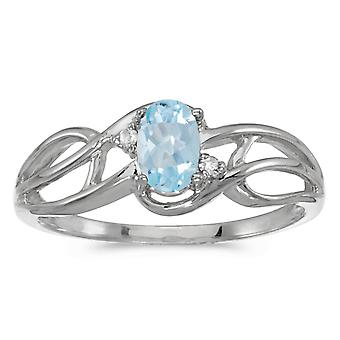 14k White Gold Oval Aquamarine And Diamond Curve Ring