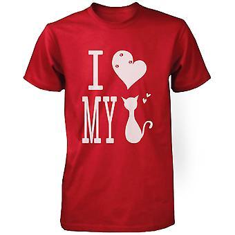 Niedliche Grafik Anweisung T-Shirt für Männer - ich liebe meine Katze rot Graphic Tee