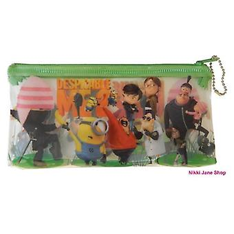 DESPICABLE ME | Clear Pencil Case | MINIONS | Kids Zip Up Pencil Case | GREEN