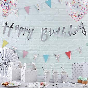 Zilveren Happy Birthday Banner Bunting
