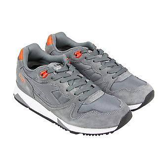 Diadora V7000 Nyl Ii Mens Gray Suede&Mesh Athletic Lace Up Running Shoes