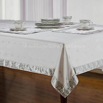 Plata blanca - Sari hecho a mano mantel (India)