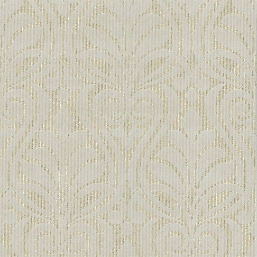 Damask Wallpaper Textured Modern Paste The Wall Faint Gold White