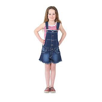 Girls Denim Button Front Dungaree Shorts - Dark Wash Kids Bib Overall Shortalls