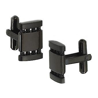 Mens Black Plated Cuff Links in Stainless Steel