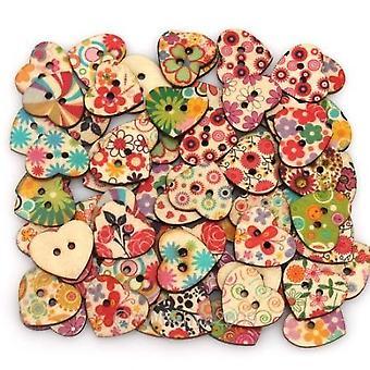 Hjerte formet malt 2 hull tre knapper 20 x 22 mm (pakke med 25pcs)