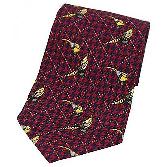 David Van Hagen Pheasants Tweed Country Silk Tie - Wine