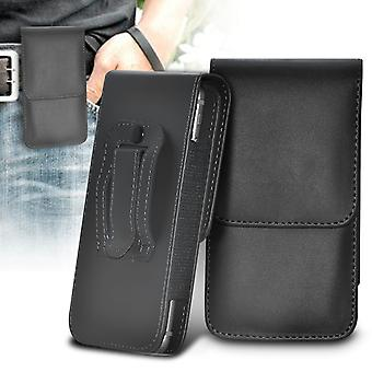 OnePlus 2 Vertical Faux Leather Belt Holster Pouch Cover Case (Black)
