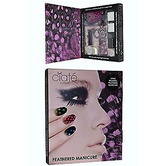Ciate Feathered Manicure What A Hoot Gift Set 13.5ml Fast Dry Top Coat Speed Coat Pro 014 + 5ml Mini Nail Polish - Snow Virgin 001 + Scissors + Nail File Block + Feathers
