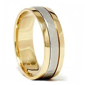 Platinum & 18K oro dos tono martillado anillo de la venda de la boda