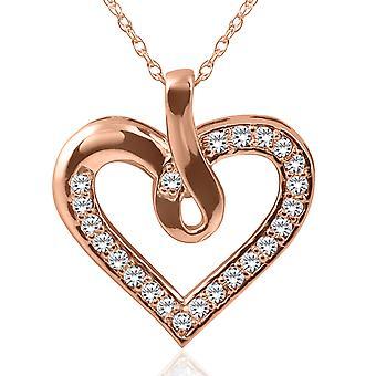 14k ouro rosa 1 / 4ct coração pingente colar de diamante novo