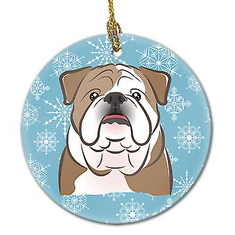 Carolines Treasures  BB1653CO1 Snowflake English Bulldog  Ceramic Ornament