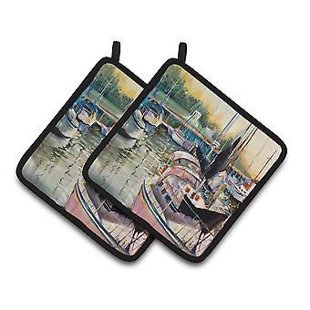 Carolines tesori JMK1246PTHD Black Sails Barche a vela coppia di presine