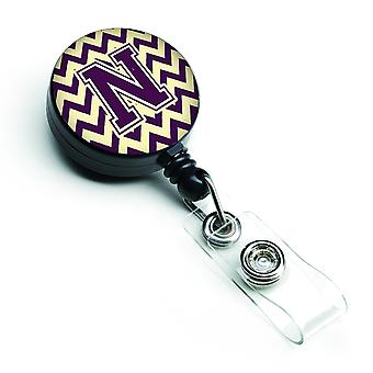 Letter N Chevron Purple and Gold Retractable Badge Reel