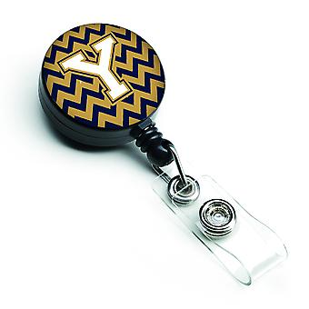 Letter Y Chevron Navy Blue and Gold Retractable Badge Reel