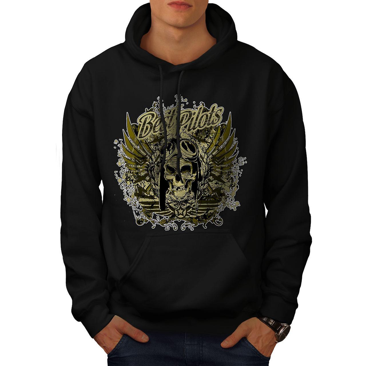 Best Pilot War Cool Skull Men Black Hoodie | Wellcoda