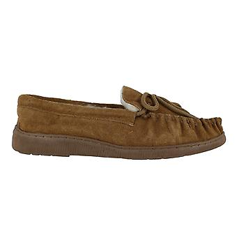 Lodgemok Mens Tan Real Suede Wool Lined Moccasins Moccs Slippers