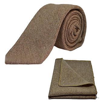 Highland Weave Stonewashed Light Brown Tie & Pocket Square Set