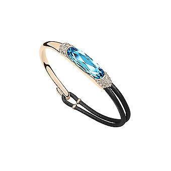 Leather and Swarovski Elements Blue Crystal bracelet