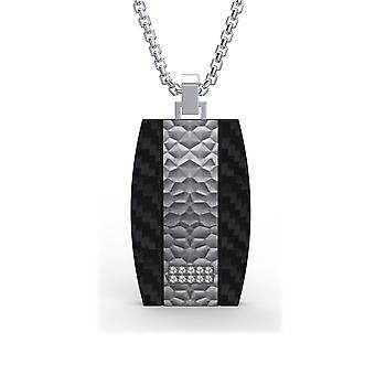 Man plate in black carbon, steel and stone Cubic Zirconia pendant