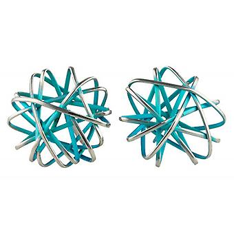 Ti2 Titanium Round Cage Chaos Stud Earrings - Kingfisher Blue