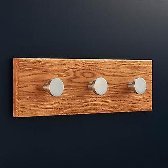 Solid Brass Silver Coat Hooks with Solid Oak Rack Panel