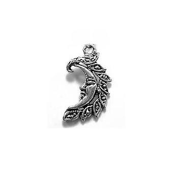 Packet 10 x Antique Silver Tibetan 25mm Moon Charm/Pendant ZX09470