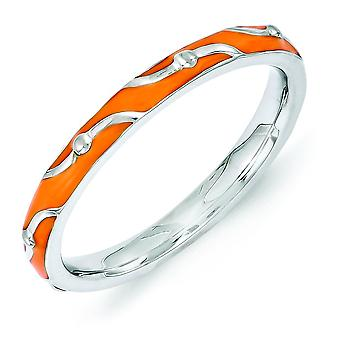 2.5mm Sterling Silver Polished Patterned Rhodium-plated Stackable Expressions Orange Enamel Ring - Ring Size: 5 to 10