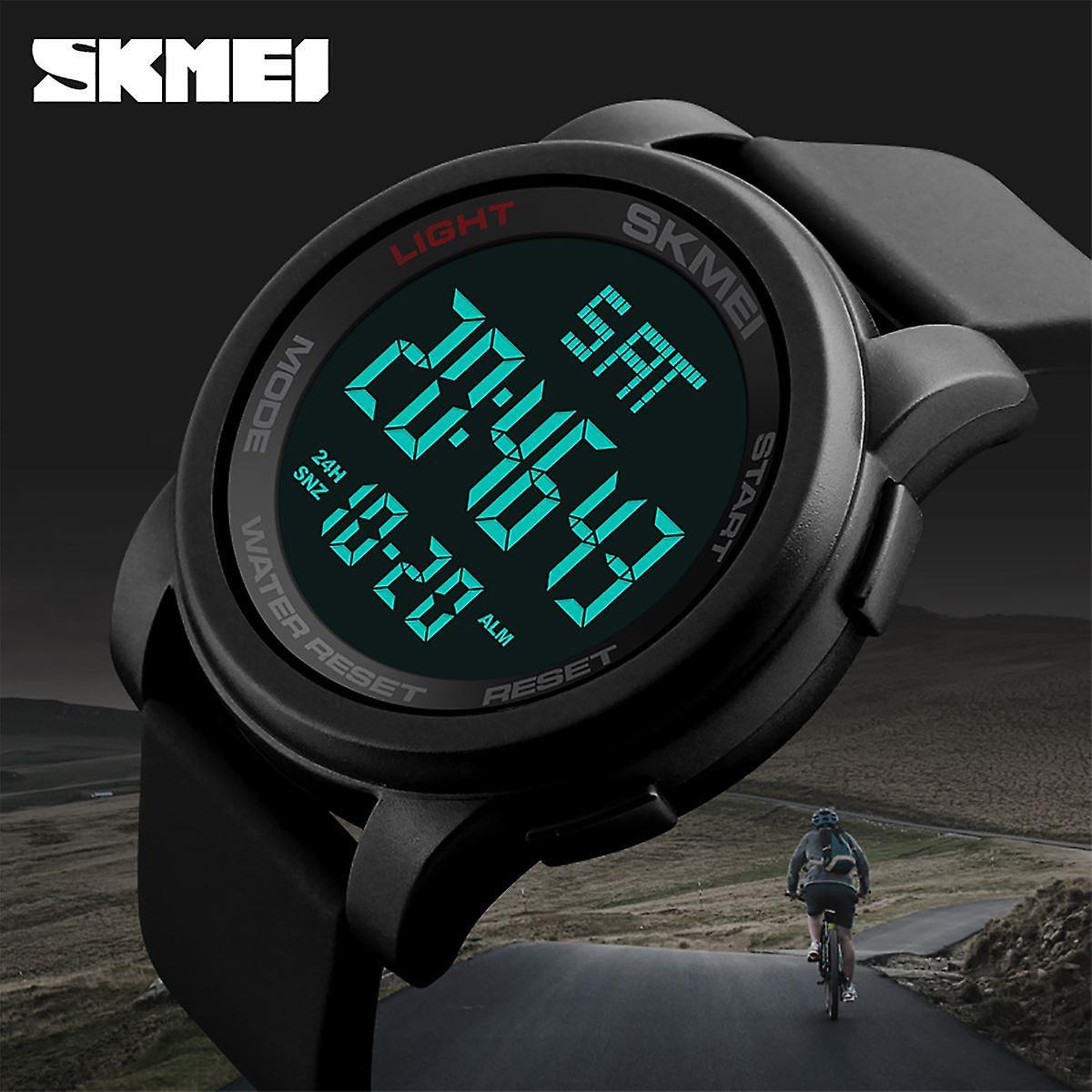 SKMEI メンズ大型表示デジタル時計樹脂ストラップ ストップウォッチ アラーム DG1257