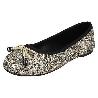 Girls Spot On Glitter Ballerinas H2488 - Gold Glitter - UK Size 11 - EU Size 29 - US Size 12