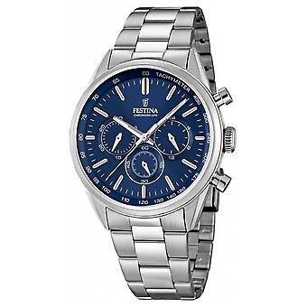 Festina Mens Stainless Steel Blue Dial Chrono F16820/2 horloge