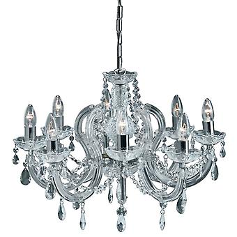 Marie Therese - 8 Light Ceiling, Chrome, Clear Crystal Glass